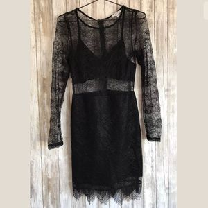Lucy Paris Dress SZ M Overlay Cut Out Lace Bodycon